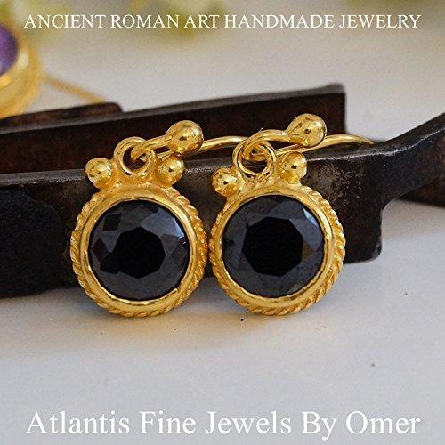 Gold Vermeil Onyx Earrings - 925 Sterling silver Handmade Onyx Hook Earrings By Omer 24k Gold Vermeil