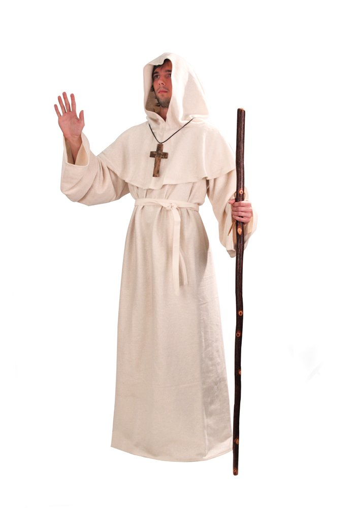 White Monk's Robe and Hood - Wizard, Sorcerer, Mage, or Priest Costume