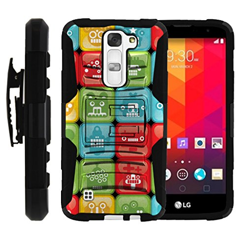 TurtleArmor | Compatible for LG K7 Case | LG Tribute 5 Case | LG Treasure Case [Hyper Shock] Armor Rugged Solid Hybrid Cover Kickstand Impact Silicone Belt Clip Robot Android - Blocked Robot Heads by TurtleArmor