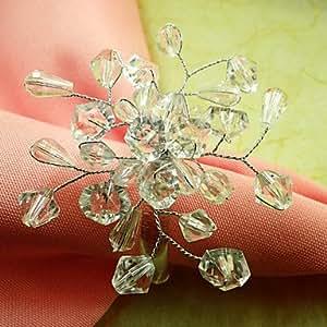 País ZBHMB flor servilleteros anillo jadella 6 Boda, perla fantronix 4,5 cm
