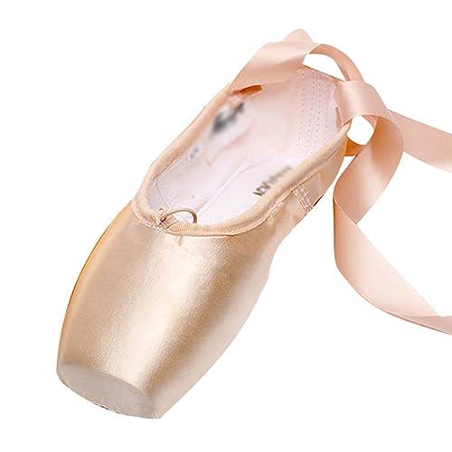 LINNUO Pointe Zapatos de Ballet Pointe Ballet Zapatillas de Ballet de Danza Baile con Cintas: Amazon.es: Zapatos y complementos