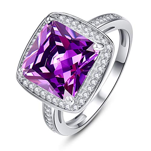 BONLAVIE Promise Rings for Her Eternity Love Princess Cut February Birthstone Created Purple Amethyst CZ Birthday Gift Size 7
