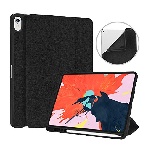 New iPad Pro 11 inch Case with Pencil Holder 2018, Soke Lightweight Trifold Stand Case [Apple Pencil Charging NOT Supported], Auto Sleep/Wake, Shockproof Soft TPU Back for iPad Pro 11 , Black