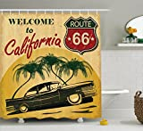 1960s Decor Shower Curtain by Ambesonne, Retro Welcome to California Advertising Seat of Hollywood Pop Art Style Neo Print, Polyester Fabric Bathroom Set with Hooks, 75 Inches Long, Red Emerald