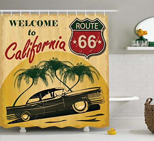 1960s Decor Shower Curtain by Ambesonne, Retro Welcome to California Advertising Seat of Hollywood Pop Art Style Neo Print, Polyester Fabric Bathroom Set with Hooks, 84 Inches Extra Long, Red Emerald