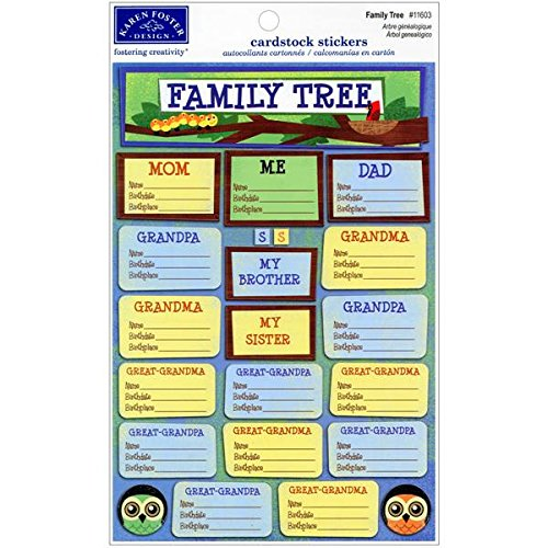 (KAREN FOSTER Design Acid and Lignin Free Scrapbooking Sticker Sheet, Family Tree)