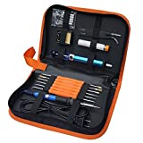 Electric Soldering Iron Kit ,Full Set 60W 110V with Adjustable Temperature Welding Iron, 5pcs Tips, Desoldering Pump, 2pcs Tweezers, Tin Wire Tube, Stand and 6pcs Aid Tools in PU Carry Bag by Thee-home