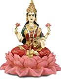 Lakshmi on Lotus Goddess of Wealth Statue, Color Details
