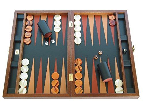 Zaza & Sacci Large Folding Wood Backgammon Board Set - Leather/Mahogany Case ()