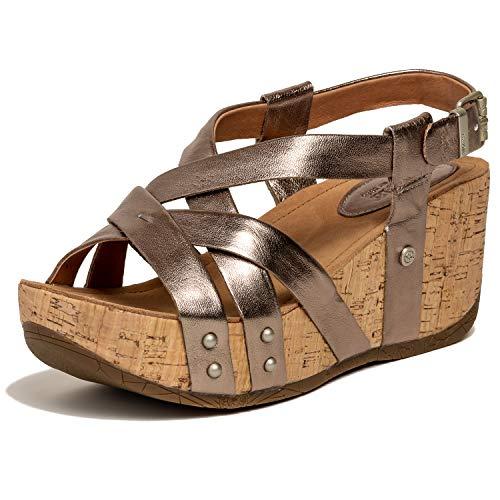 (Bussola Women's Fabia Leather Strappy Open Toe Platform Wedge Buckle Sandal(White Gold Metallic,37 M EU))