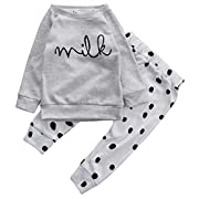 Baby Boy Girl 2pcs Set Outfit Milk Print Long Sleeve Top+Dot Pattern Long Pants (0-3months, Gray)