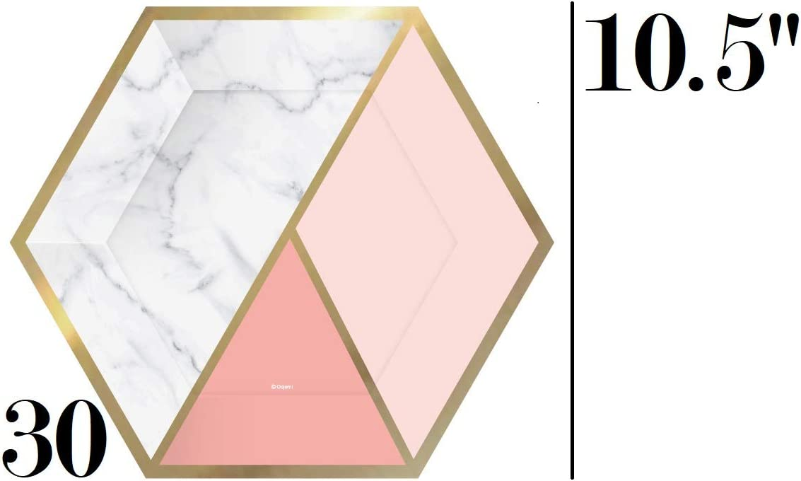 Serves 30 Plates Weddings Gender Reveal and many many more occassions Office Cups Ideal for Birthdays Complete Party Pack Marble Effect Pink and Gold Foil Hexagon Engagements Brunch Gold Foil Paper Plates Marble Hexagon Napkins Showers