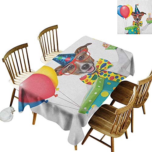 Cranekey Kitchen Rectangular Tablecloth W54 x L72 Kids Birthday Waiter Server Party Dog with Hat Cone Cupcake Balloons Celebration Boxes Multicolor Great for Party More