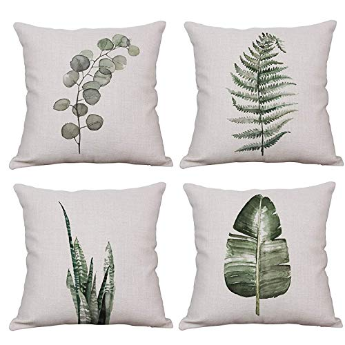 YeeJu Set of 4 Throw Pillow Covers Decorative Green Fern Leaf Cushion Covers Square Cotton Linen Outdoor Couch Sofa Home Pillow Covers 20x20 Inch