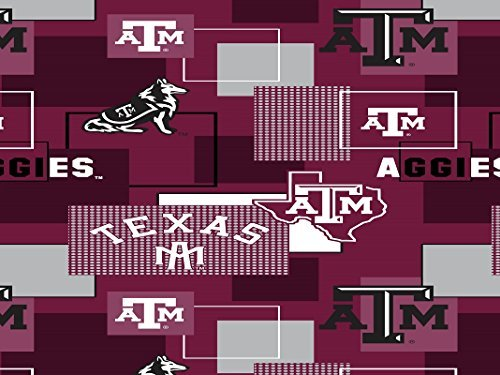 TEXAS A&M AGGIES COTTON FABRIC BLOCK PRINT- TEXAS A&M UNIVERSITY BLOCK PRINT COTTON FABRIC-NEWEST DESIGN
