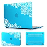 Batianda Lace Design MacBook AIR 13 inch Rubberized Hard Case for MacBook Air 13.3'' (A1466 & A1369) Shell Cover (Sky Blue)