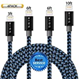 iPhone Cable SGIN,4Pack 3FT 6FT 6FT 10FT Nylon Braided Cord Lightning Cable Certified to USB Charging Charger for iPhone 7,7 Plus,6S,6 Plus,SE,5S,5,iPad,iPod Nano 7 - Black Blue