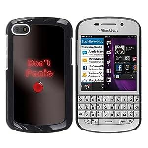 Caucho caso de Shell duro de la cubierta de accesorios de protección BY RAYDREAMMM - BlackBerry Q10 - Do not Panic Button