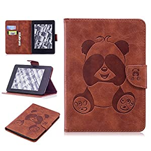 "Kindle Paperwhite Case,Gift_Source [Card Slots] Cute Panda Embossed Case Magnetic Closure PU Leather Wallet Pocket Flip Stand Cover for Amazon Kindle Paperwhite 6"" E-reader [Brown]"