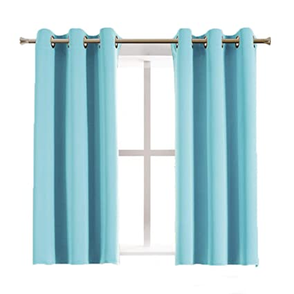 Aquazolax Grommet Blackout Curtains For Kids Room Elegant Thermal Insulated  Window Treatment Blackout Curtain Panels For