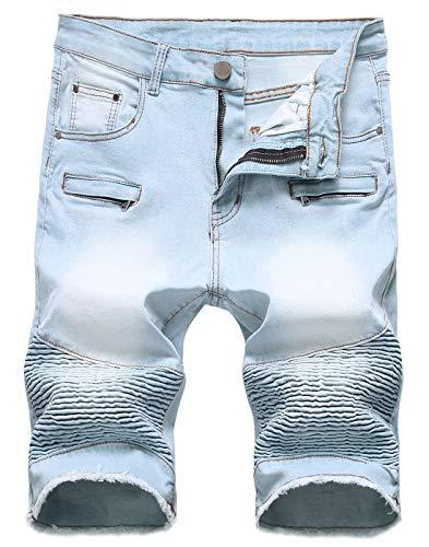 - chouyatou Men's Cool Stylish Wrinkle Performance Slim Ripped Denim Shorts (28, Color04)