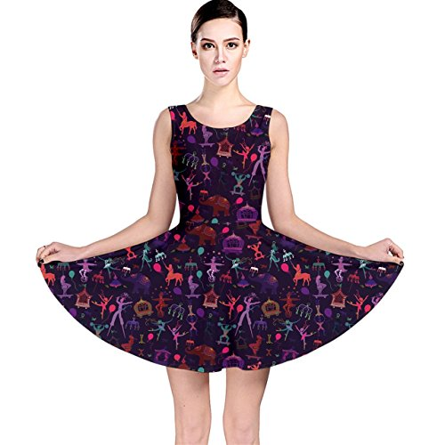 [Blue Pattern Colorful Circus Magician Elephant Dancer Skater Dress] (Circus Dress)