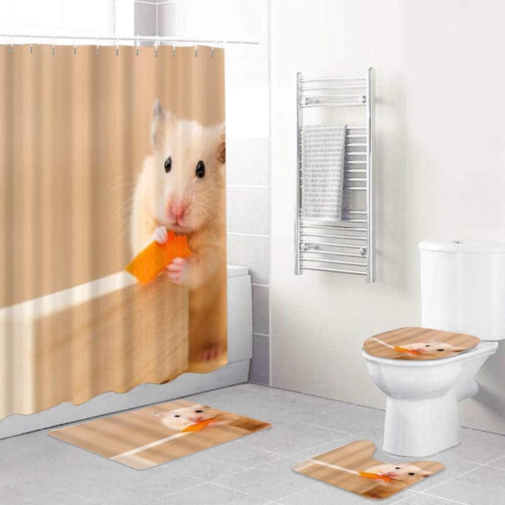 EricauBird Shower Curtain- Animals Hamster Cute pet Eating Food, Waterproof Bath Curtains for Bathroom Bathroom Decor 72x72