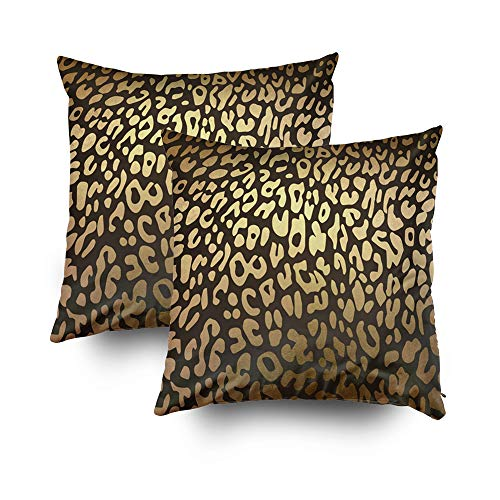 Musesh Pack of 2 Halloween Leopard Cheetah Animal Skin Print Cushions Case Throw Pillow Cover for Sofa Home Decorative Pillowslip Gift Ideas Household Pillowcase Zippered Pillow Covers 20X20Inch ()