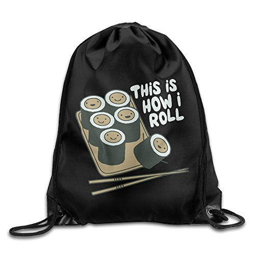 SUNG916 How I Roll Sushi Gym Drawstring Bags Backpack