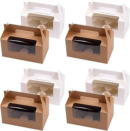 scatole con 2 inserti in cartone e finestrella in PVC bianco Set di 12/contenitori trasportabili per cupcake