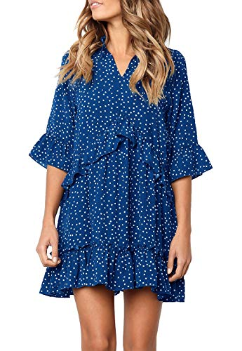 MITILLY Women's V Neck Ruffle Polka Dot Pocket Loose Swing Casual Short T-Shirt Dress Large - Polka Small Dot