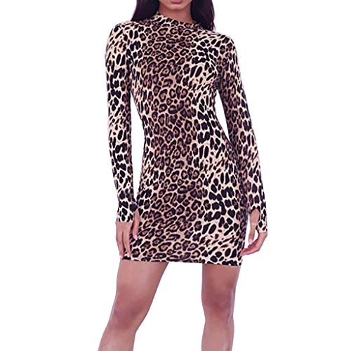 Christmas Women's Sexy Leopard Mini Dress Tube Ladies Round Neck Long Sleeve Knee Length Dress Finger Cover (Brown, S) ()
