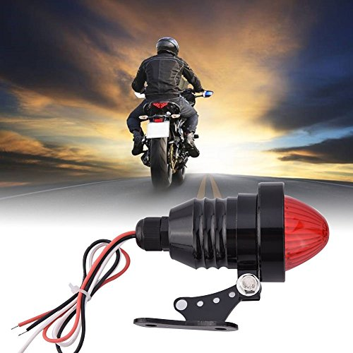 DLLL Aluminum Alloy Polished LED Motorcycles Rear Running Brake Stop Tail Spotlight Lamp Light Motorbike Rear Stop Light Lamp for Harley Chopper Bobber Cafe Racer,Custom Chopper,Cruiser,Buggy (Black)