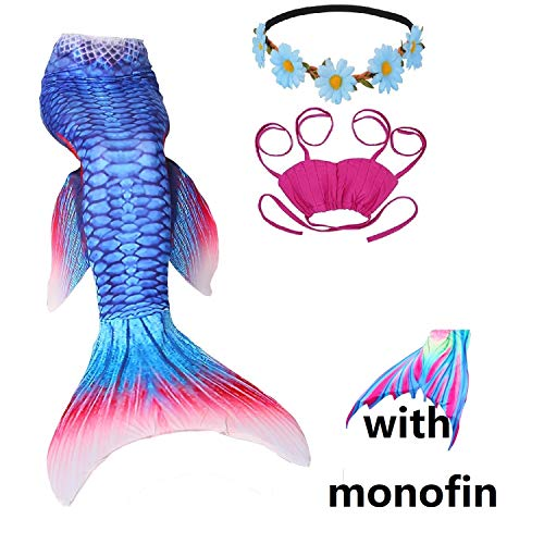 4 Piece Mermaid Tail Swimsuit with Removable Fin Included Monofin and Flower Headband, Wet/Dry Outfit for Kids and Teens (130(7-8Y), -
