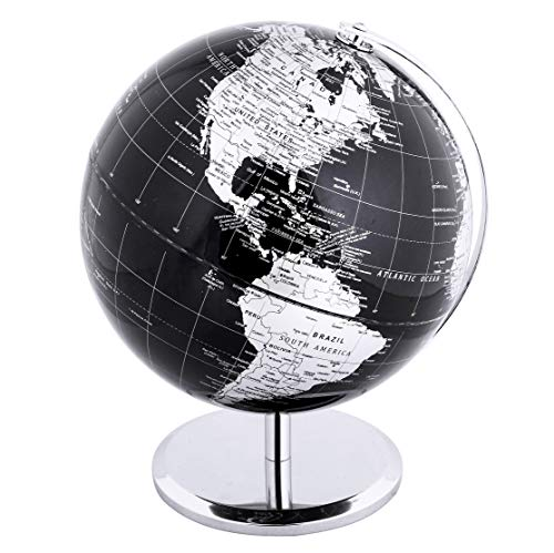 Exerz Metallic World Globe (Dia 8-Inch / 20cm) Black - Educational/Geographic/Modern Desktop Decoration - Stainless Steel Arc and Base/Earth World - Metallic Black - for School, Home, and Office