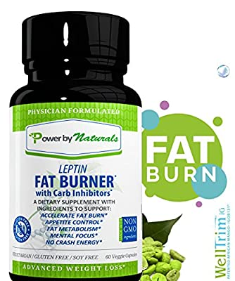 Leptin Fat Burner with Carb Inhibitor, Metabolic Weight Loss Supplement, Thermogenic Fat Burn for Men and Women, Natural Weight Loss Supplement, Appetite Suppressant, Carb Blocker - PowerbyNaturals