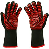 BBQ Grill Gloves [NEWEST] 932℉ EN407/EN420 CE Heat Resistant - Oven Silicone Glove Fireproof for Smoker Baking - High-temp Barbecue Grilling Potholders - Heat-insulated Cooking Mitt, X-Long (Red)