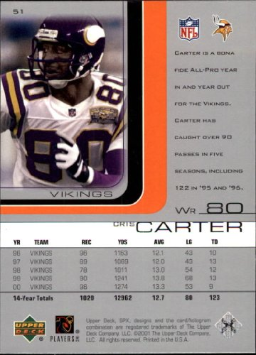 Amazon.com: 2001 SPx Football Card #51 Cris Carter Near Mint/Mint: Collectibles & Fine Art