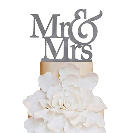 Amazon.com: Personalized Cake Toppers Mr and Mrs Wedding Cake ...