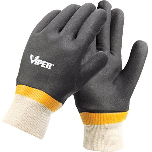Galeton 7100 Viper Double Coated PVC Gloves, Knit Wrist Cuff, Large,Black (Pack of 12)