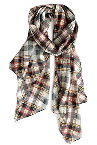 - Z&HTrends Womens Genuine Silk Scarf (Small, Tartan Plaid Black)