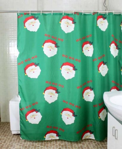 Christmas Shower Curtain 180x180 Polyester Bathroom Bath Curtains Green Including 12 Rings Amazoncouk Kitchen Home
