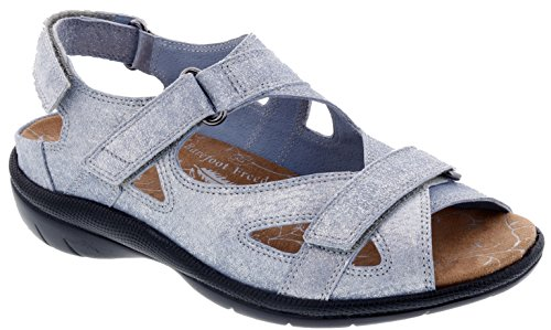 Drew Shoe Lagoon Women's Therapeutic Diabetic Extra Depth Sandal: Blue/Denim 7 Medium (B) Velcro by Drew Shoe