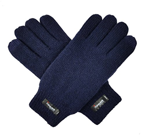 Bruceriver Men's Wool Plain Basic Style and Touchscreen style Knitted Gloves with Thinsulate Lining Size L/XL( Navy Touchscreen)