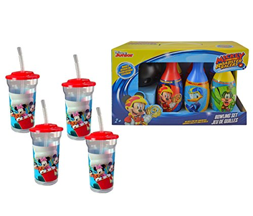 Mozlly Value Pack - Zak Designs Disney Mickey Mouse and Friends 16oz Plastic Tumbler Cups (4pc Set) AND Mickey and the Roadster Racers Bowling Set - Novelty Character Toys (2 Items) -