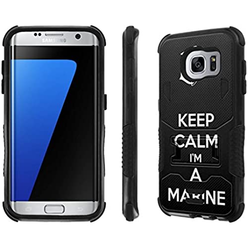 Galaxy S7 Edge Case, [NakedShield] [Black/Black] Combat Tough SHOCK PROOF with KICKStand - [Keep Calm I'M A Marine] for Samsung Galaxy S7 Sales
