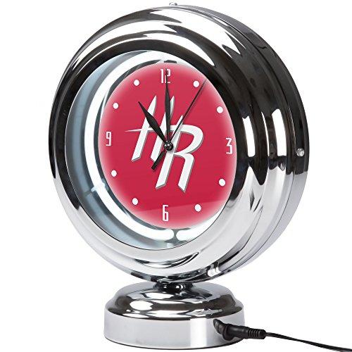 - Trademark Gameroom Houston Rockets NBA Chrome Retro Style Tabletop Neon Clock