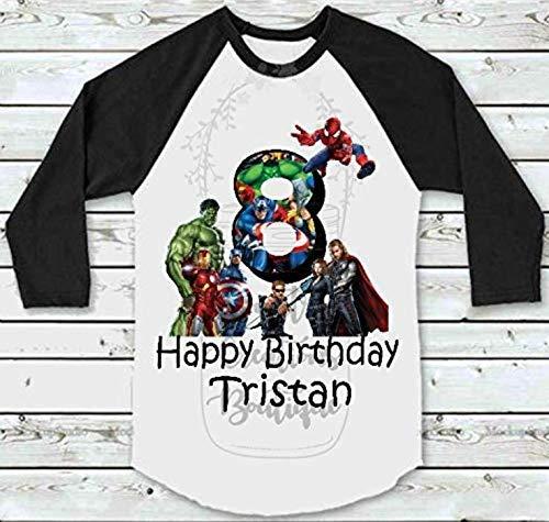 Family of 4 Avengers Birthday Personalized Raglan Shirts, Hulk, Iron Man, Captain America Tee Shirt, T Shirt, Birthday T-Shirt]()