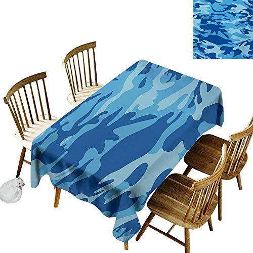 Mannwarehouse Camouflage Polyester Tablecloth Abstract Camouflage Costume Concealment from The Enemy Hiding Pattern Party W54 x L90 Pale Blue Navy Blue]()