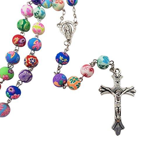 Catholic Rosary Necklace Colorful Polymer Beads Virgin Mary Centerpiece Jesus Crucifix Holy Land Gift